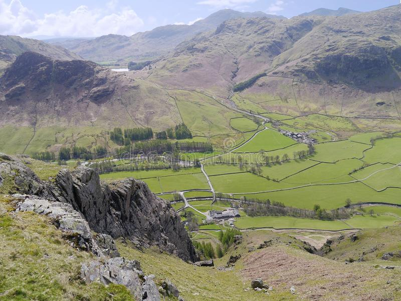 Looking down to Old Dungeon Ghyll, Great Langdale, Lake District. Old Dungeon Ghyll inn down there, campsite left of centre, Wall End right of that with Blea royalty free stock images
