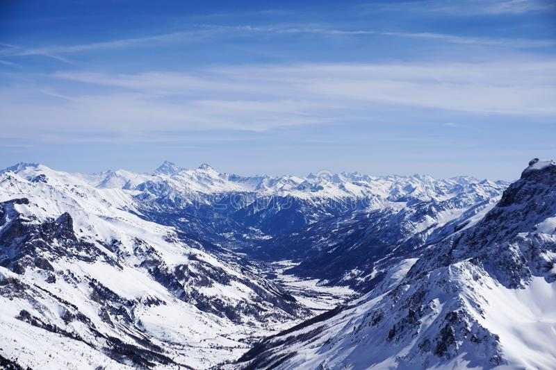 Looking down to Serre Chevalier from La Grave stock photography
