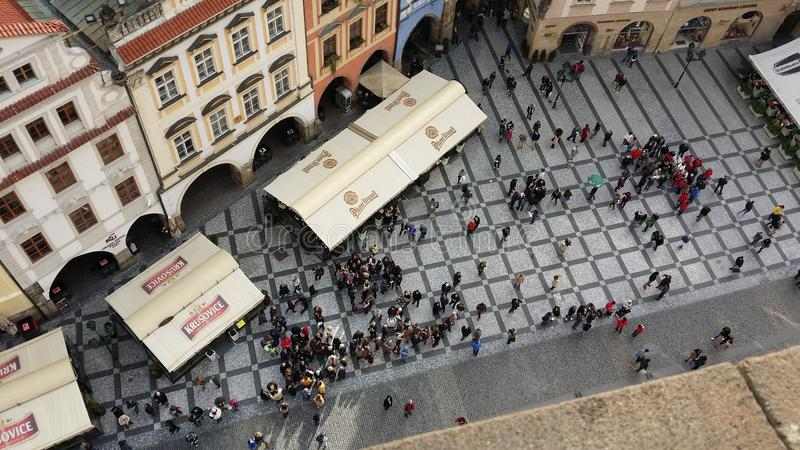 Looking down to the square beneath the town hall in Prague, Czech Republic royalty free stock photo