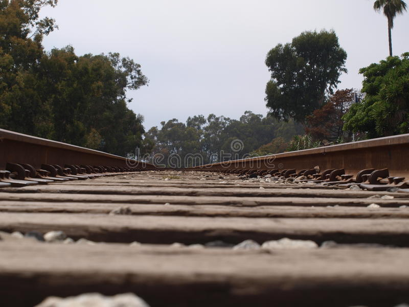 Looking down the tracks stock images