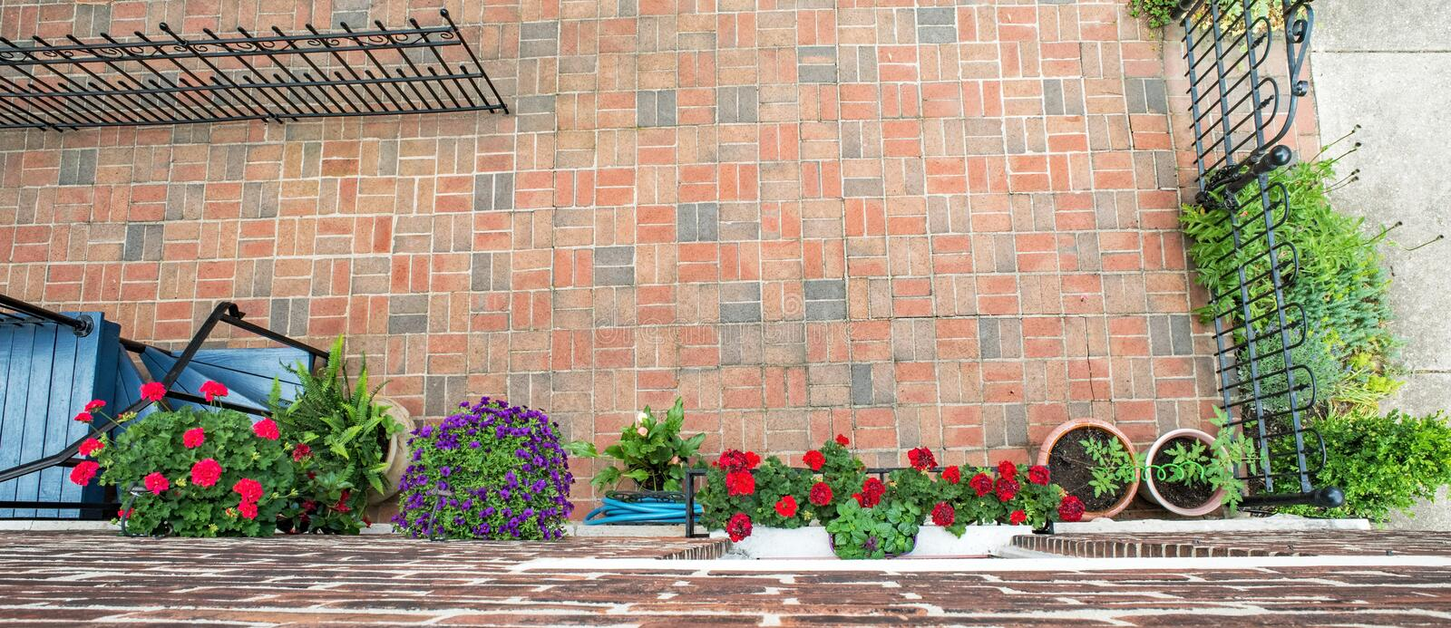 Urban Court Flowers & Plants from Above royalty free stock photography