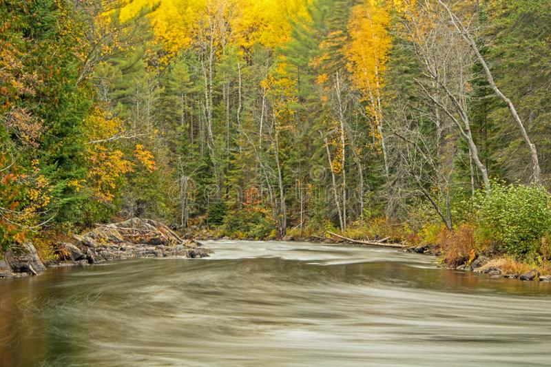 Looking Downstream On The York River In Autumn. Autumn scene along the York River within Egan Chutes Provincial Park near Bancroft, Ontario, Canada royalty free stock images