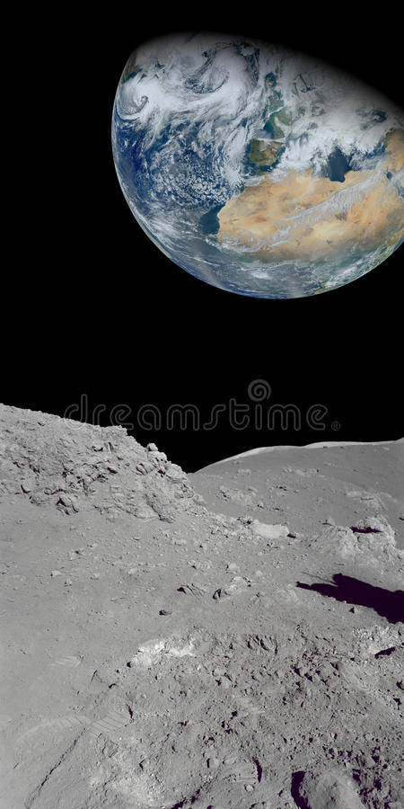Looking at the earth from our moon royalty free stock images