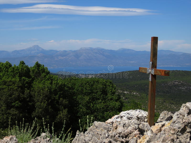 Looking at evia island and dirfys mountain range from a high altitude, Mount Parnitha, Greece stock photo