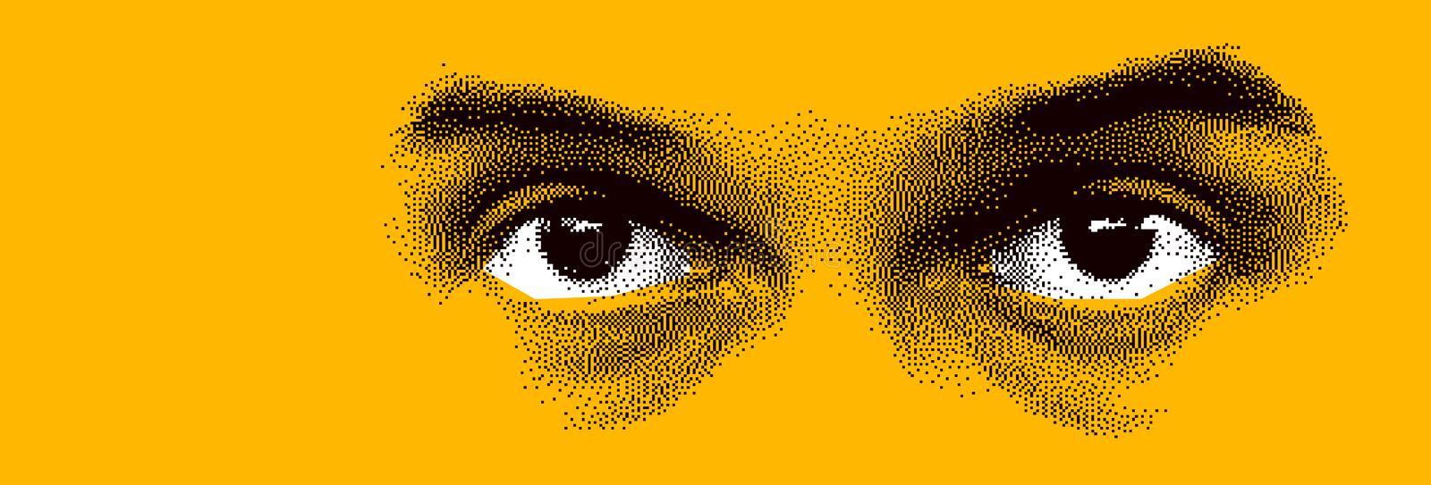 Looking eyes 8 bit dotted design style vector abstraction, human face stylized design element. Looking eyes 8 bit dotted design style vector abstraction, human vector illustration