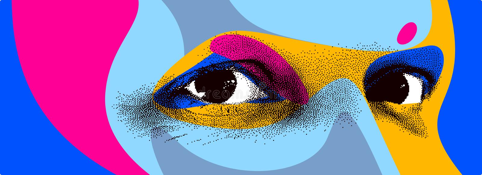 Looking eyes 8 bit dotted design style vector abstraction, human face stylized design element. Looking eyes 8 bit dotted design style vector abstraction, human stock illustration