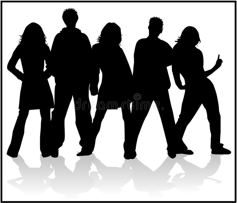 Looking Forward People. Vectors Silhouettes