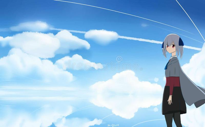 Looking into the future peacefully stock illustration