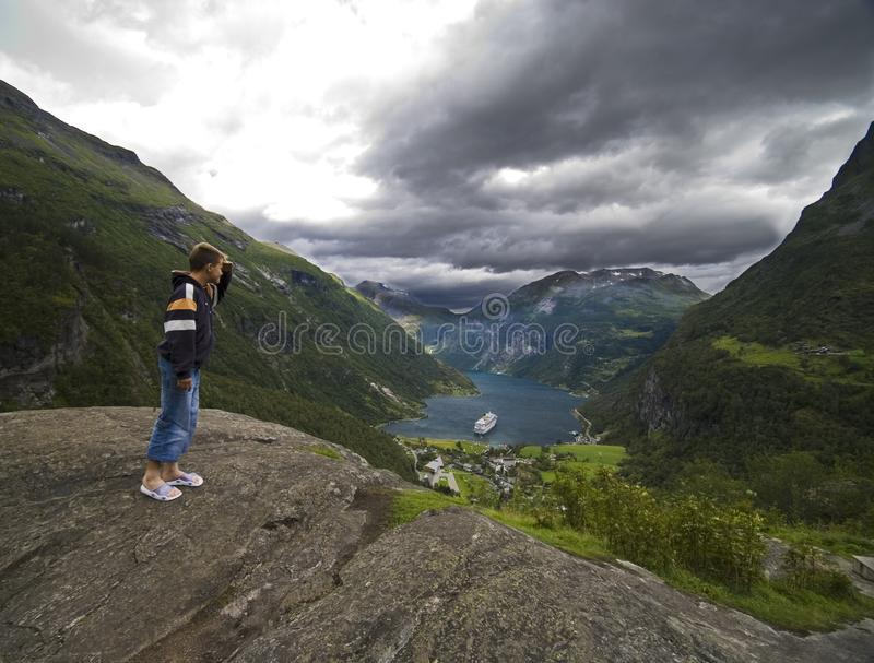 Download Looking at Geirangerfjord stock photo. Image of aerial - 3000338