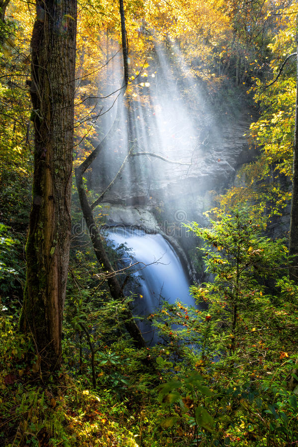 Looking glass falls in Autumn in North Carolina stock images