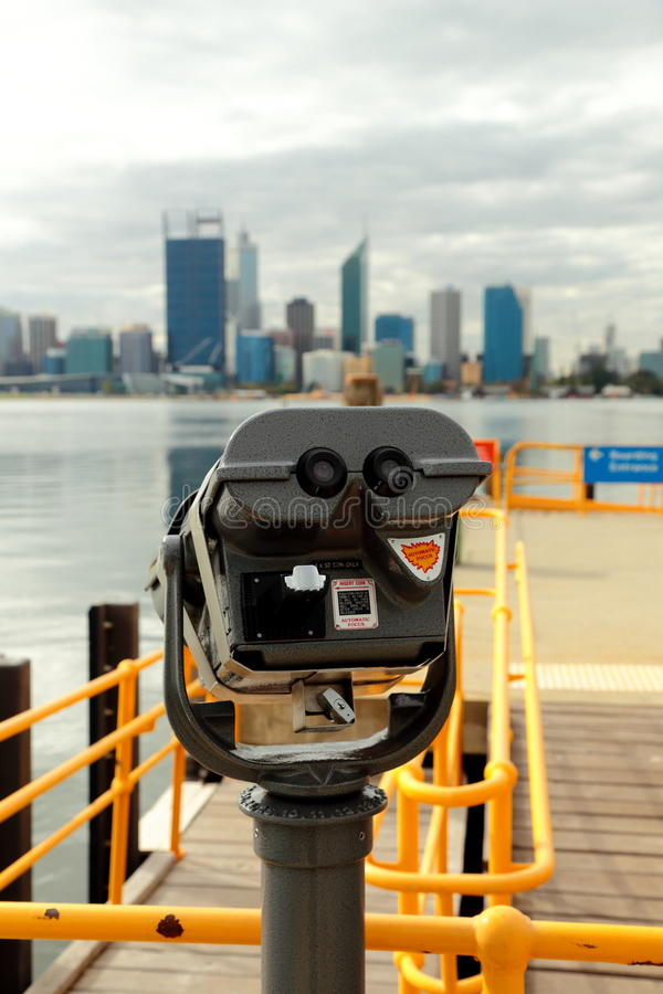 Looking Glass over Swan River. A looking glass at the south side of the swan river, overlooking the city of Perth stock image