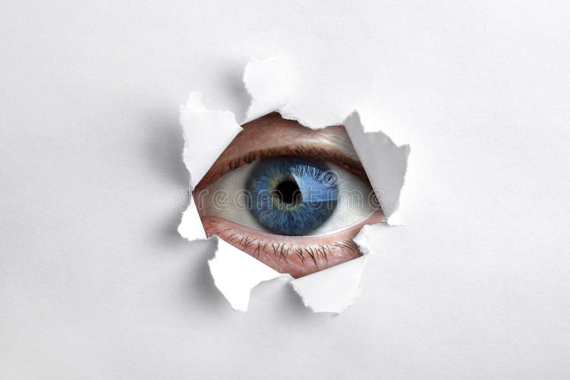 Download Looking Through A Hole In White Paper Stock Photo - Image of peephole, empty: 21479388