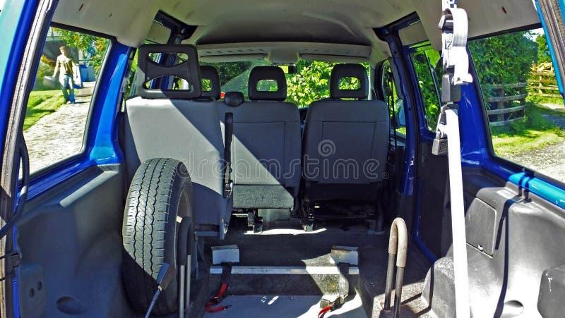 Blue van stock photo