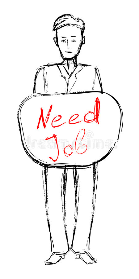 Looking for a job. Man hold a plate with text looking for a job royalty free illustration