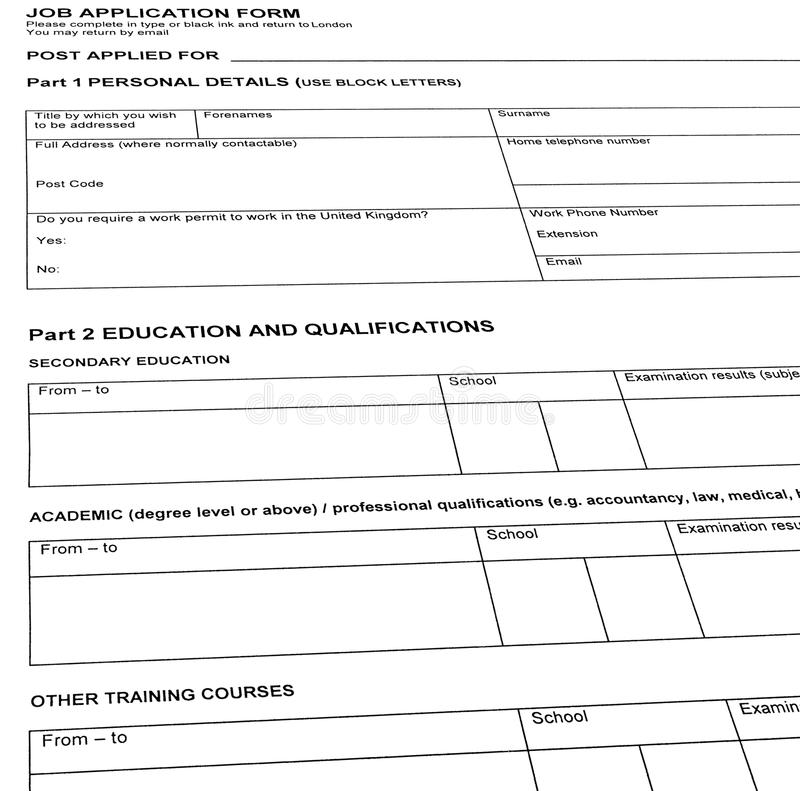 looking for job resume blank form isolated stock image image