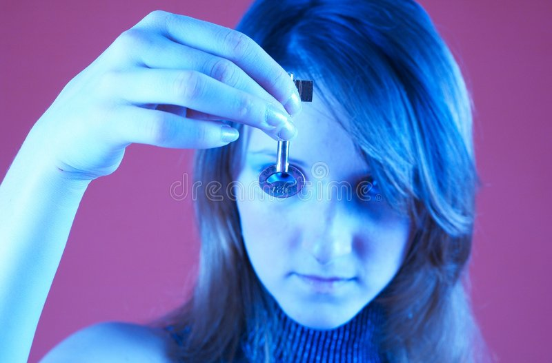 Looking through the key. royalty free stock image