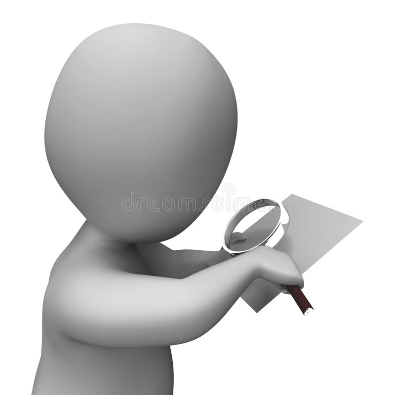 Looking Magnifier Document Character Shows Investigation Investigate And Investigating vector illustration