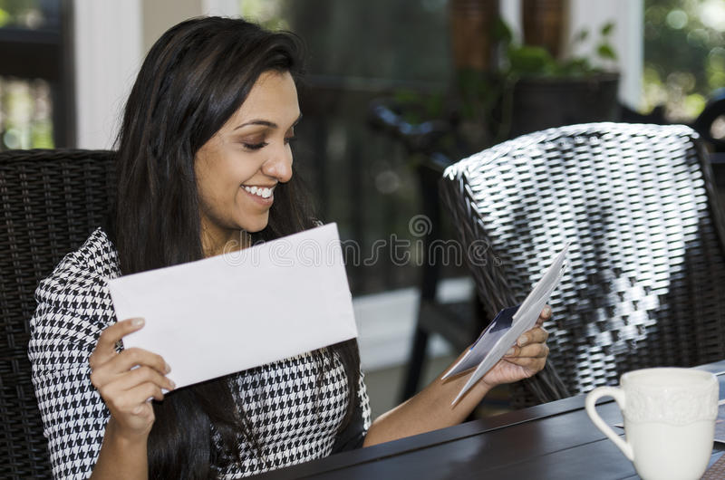 Looking through the mail stock image