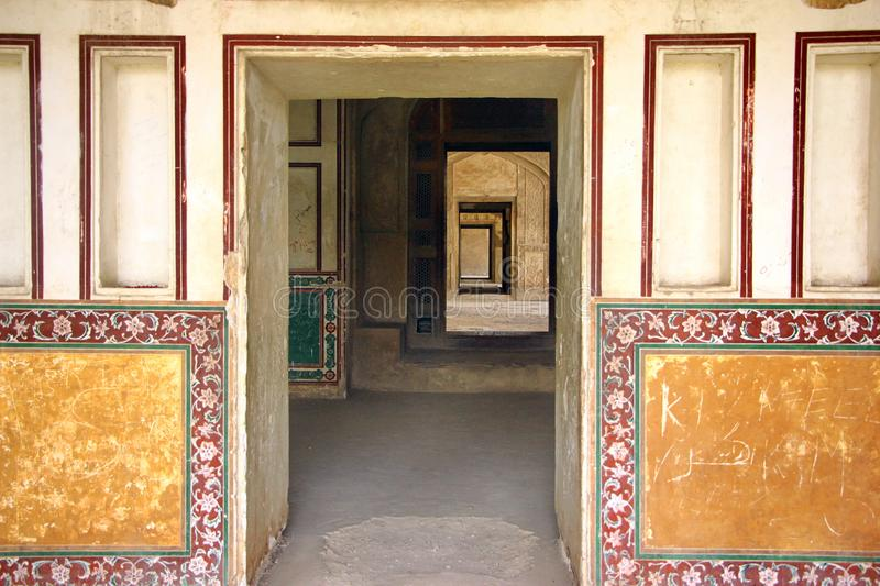 Looking through many doors in the ancient Lahore fort Sheesh Mahal Palace. Pakistan stock images