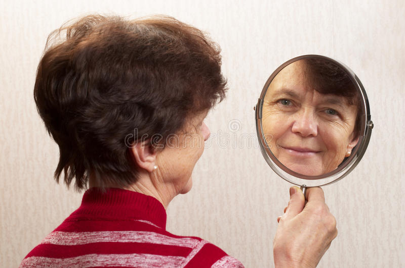 Download Looking at the mirror stock photo. Image of senior, white - 17928210