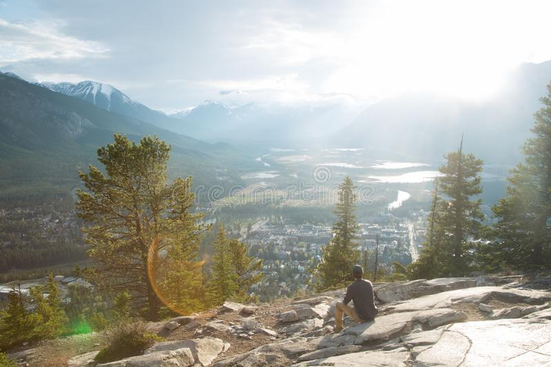 Looking at mountain valley stock image
