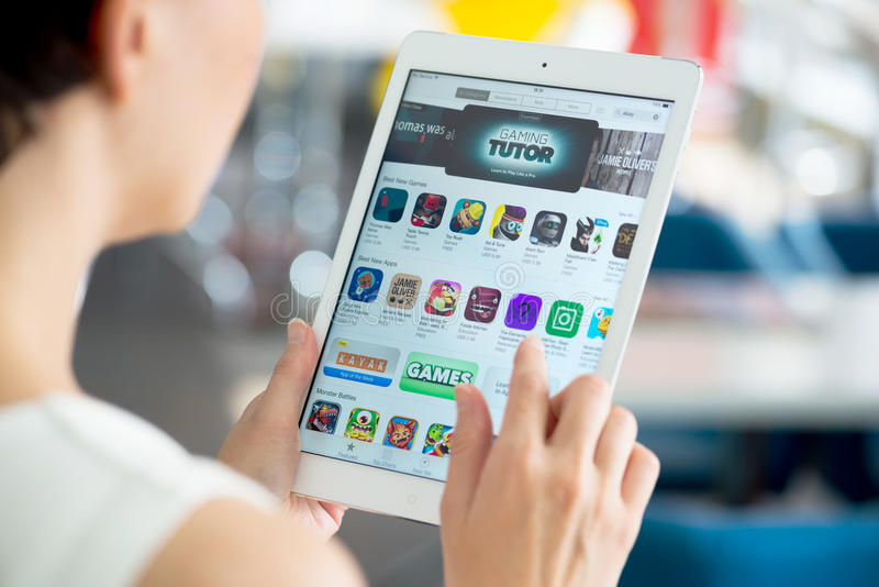 Looking for a new apps on App Store royalty free stock image