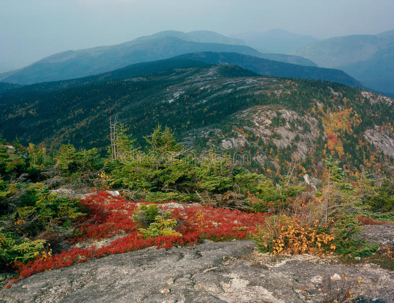 Looking north from the summit of North Baldface Mountain, Baldface Circle Trail, Evans Notch, New Hampshire royalty free stock image