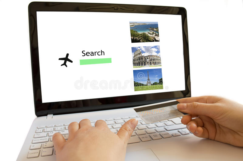 Looking online flights royalty free stock photography