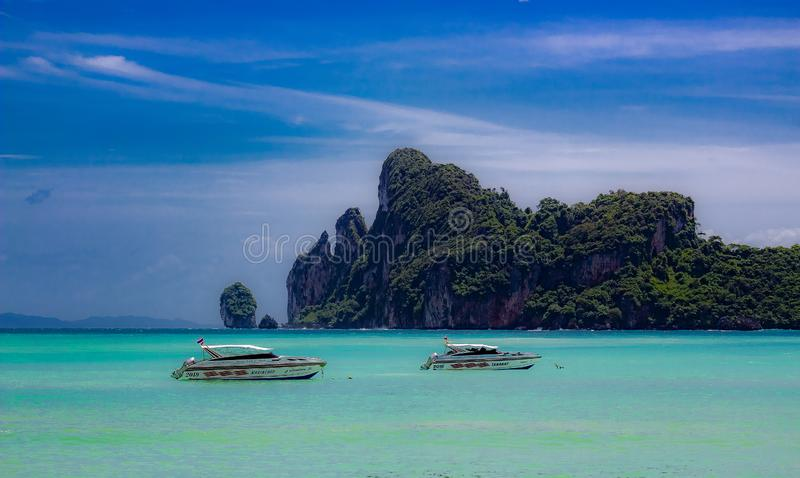 Looking out at the bay at Phi Phi Island, Krabi Thailand royalty free stock images