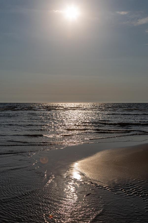The Coast at Formby, Merseyside. Looking out over the Irish Sea from Formby beach, on a sunny summers evening stock photo
