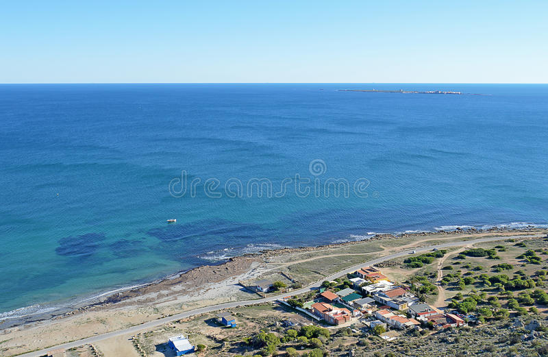 Looking Out To Sea - View From Cliff Top To Mediterranean Sea stock photo