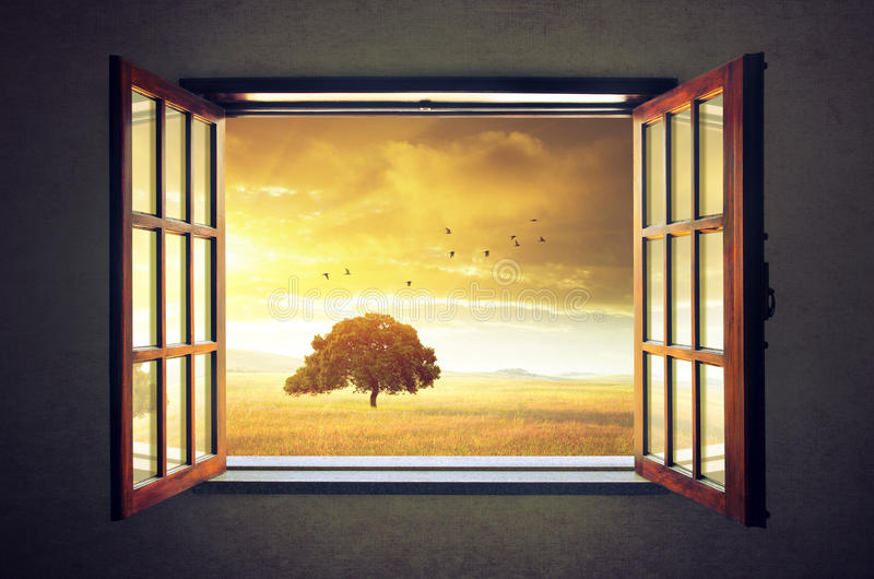 Obscure Glass Windows Opens Out : Looking out the window stock photo image of inside