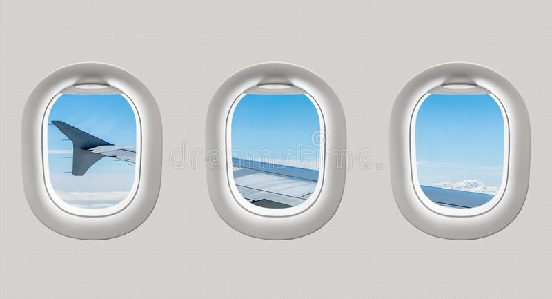 Looking out the windows of a plane to the aircraft wing and clou. Looking out the windows of a plane to the aircraft wing, blue sky and clouds stock illustration