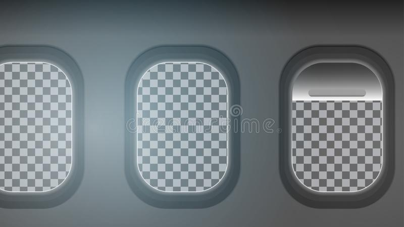 Looking out the Windows of a Plane, Transparent Background. Vector Illustration vector illustration