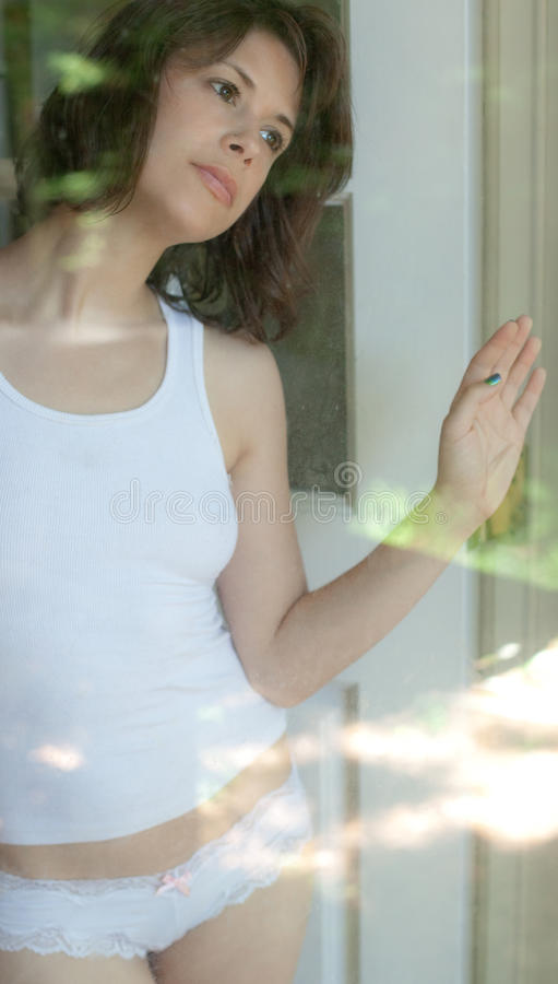 Download Looking Outside stock photo. Image of adult, door, sensual - 31990858