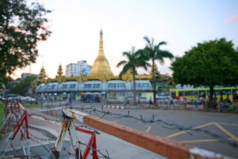 Sule Pagoda in Downtown Yangon, Myanmar stock image