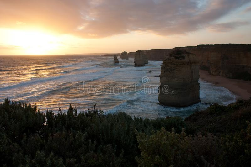 Looking over a green shrub at the sunset at Twelve Apostles on the Great Ocean Road in Australia royalty free stock image