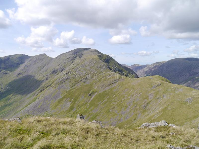 Popular Pillar ridge viewed from Kirk Fell, Lake District. Looking over from Kirk Fell to Pillar and the ridge that is probably the most common ascent route royalty free stock image