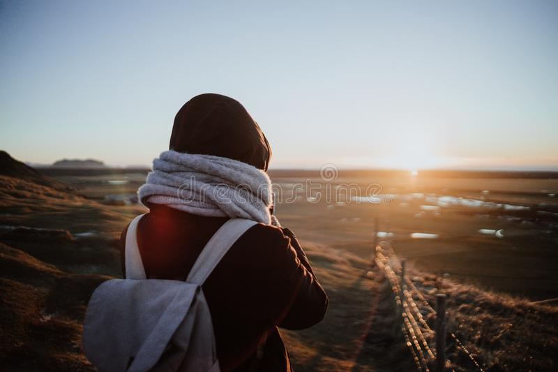 Looking over a landscape in Iceland stock images