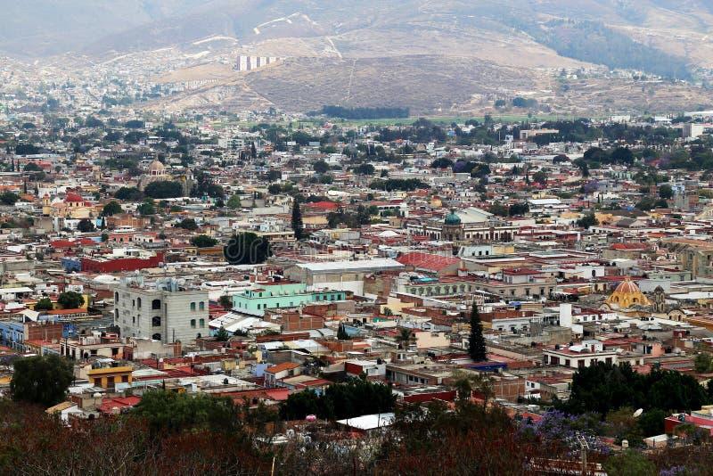 Looking over Oaxaca city, Mexico. stock photo