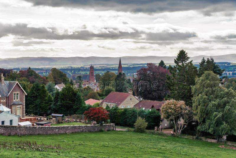 The Beautiful Scottish Town of Crieff with the Perthshire Hills in the Misty D royalty free stock photo