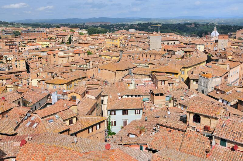 Looking over the Siena rooftops and Roman architecture, Italy royalty free stock photos