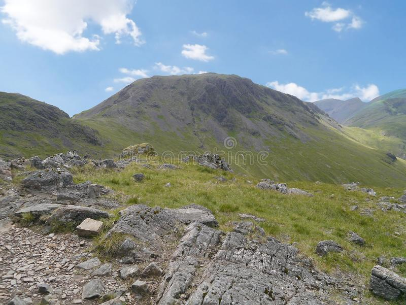 Kirk Fell, Lake District. Looking over to Kirk Fell from a popular path known as Moses Trod, looks easy from here doesn`t it royalty free stock images