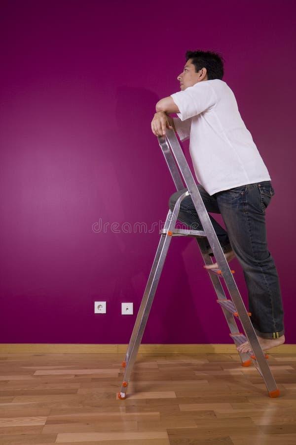 looking painted wall στοκ φωτογραφία