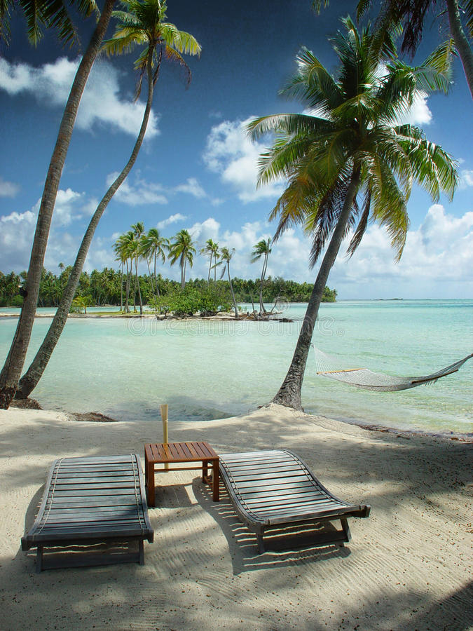 Looking for paradise?. This picture it was taken on Taaha island, French Polynesia stock photography