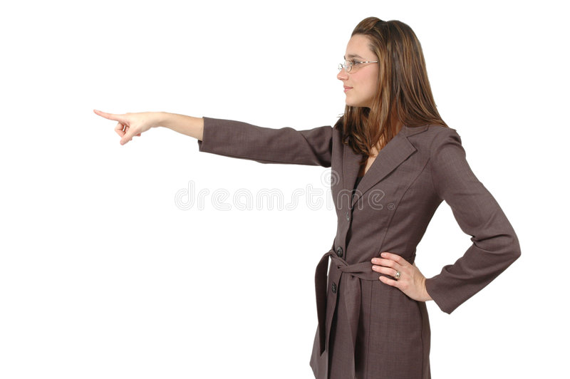 Looking and Pointing. Business woman with glasses is pointing and looking at what she is pointing towards. Horizontal crop on white background royalty free stock image