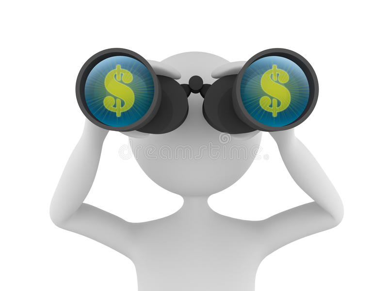 Looking for Profit. Concept depicting 3D man looking for profit in dollars with the help of binoculars vector illustration