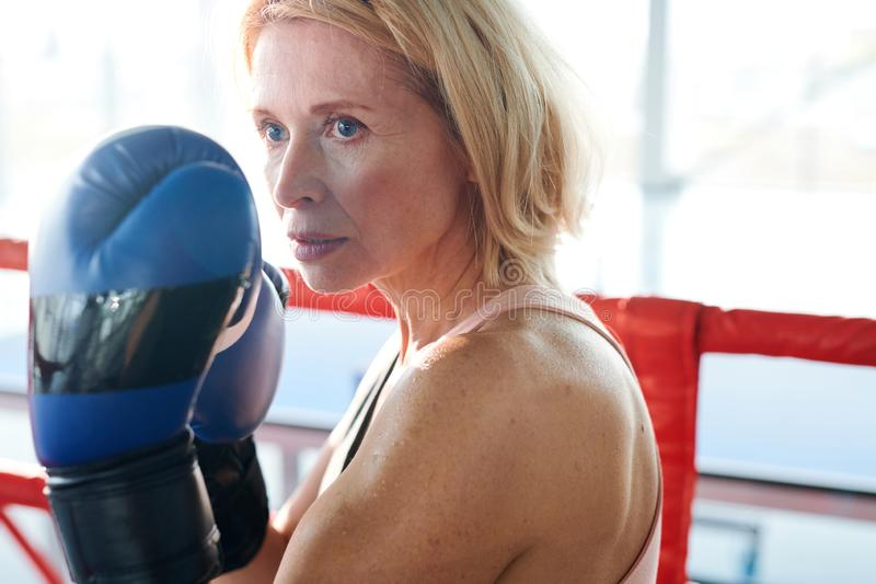 Looking at rival. Strong mature female in boxing gloves looking at her rival before hitting while training to prepare for competition stock photography