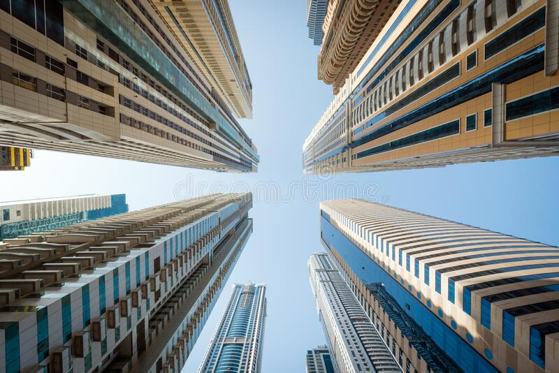 Skyscrapers from below stock photography