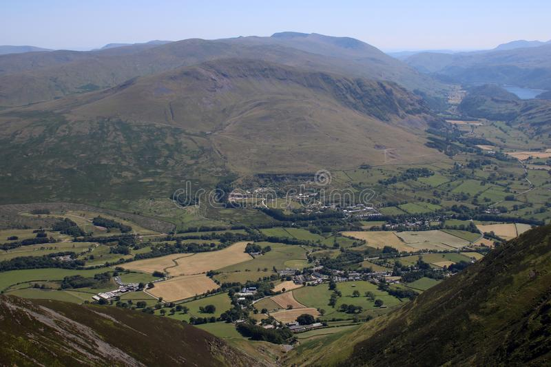 Threlkeld, St Johns in the Vale, from Blencathra. Looking south from Blencathra also known as Saddleback over Threlkeld to St John`s in the Vale with Thirlmere royalty free stock images